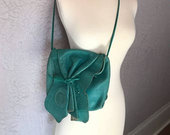 5eefa9542986 80s Vintage Carlos Falchi Crossbody Turquoise Leather Purse