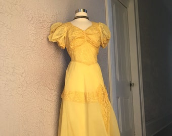 30's Vintage Yellow Organdy Chiffon Lace Gown Dress Med/Large
