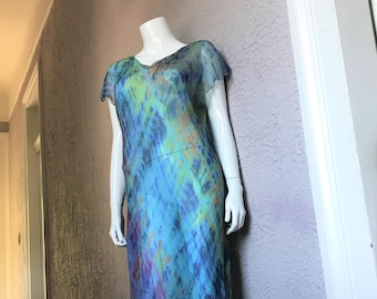 09's Vintage Silk Chiffon Dress med/large Boho style