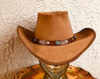 26b738cb895ec 70 s Vintage Leather Suede Hippie Cowboy Hat Med large