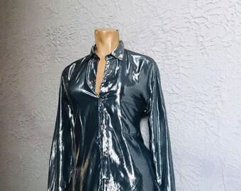 ac0d0db79 80's Vintage Forenza SilverLame' Rayon Boyfriend Shirt sm/med