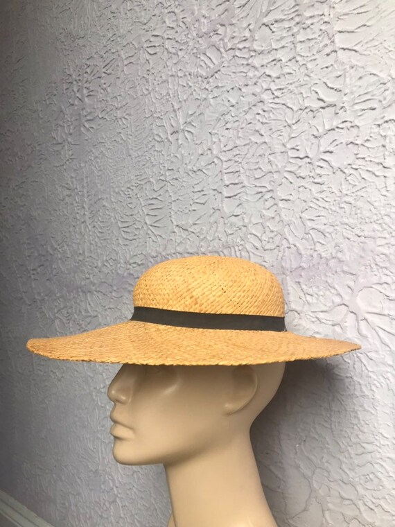 70's does 30's Vintage Adolfo Natural Straw Hat