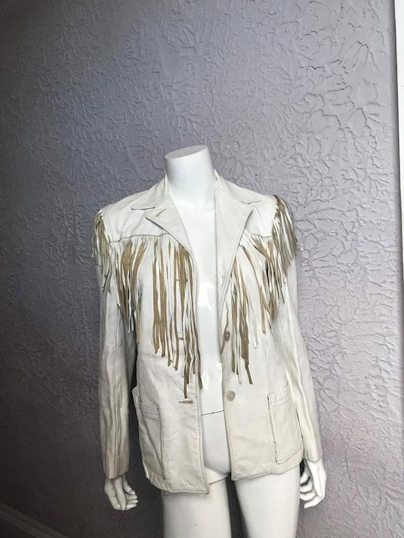 50's Vintage White Leather Western Fringe Jacket s
