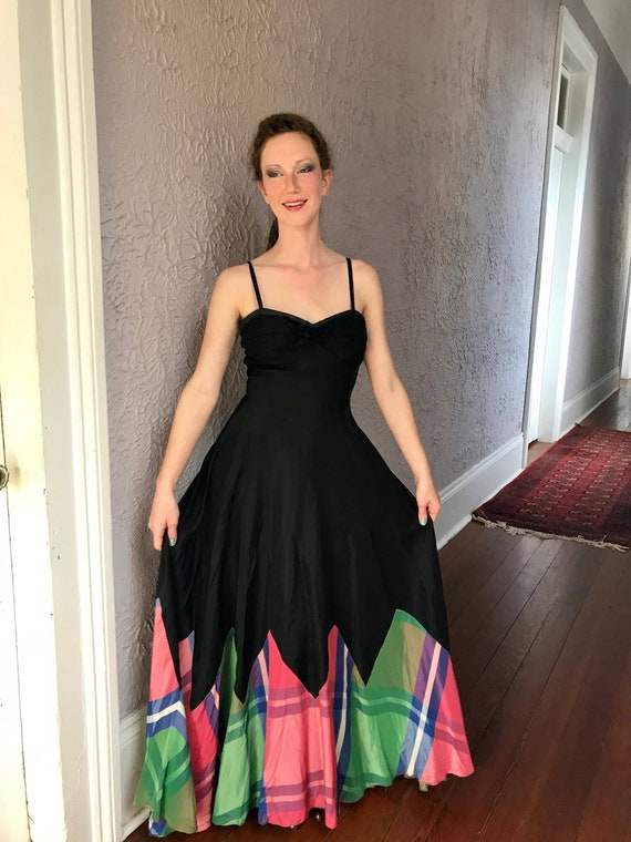 30's Vintage Rayon Silk Plaid Gown Dress - image 4