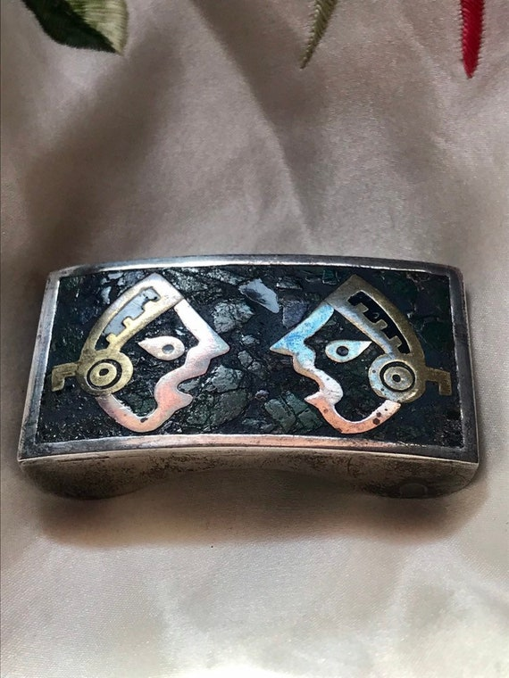 50's/60's Vintage Mexican Sterling Mayan Turquois… - image 2