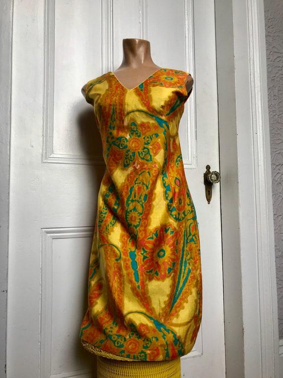 60's Shaheen Paisley Print Mod Hippie Cotton Shif… - image 10