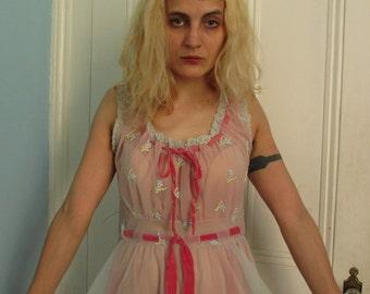 60's Vintage Pink Chiffon Princess Nightgown sm/med