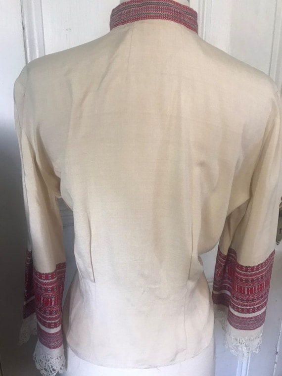 Vintage 30's/40's Hand Made Lace Silk Peasant  Bl… - image 5