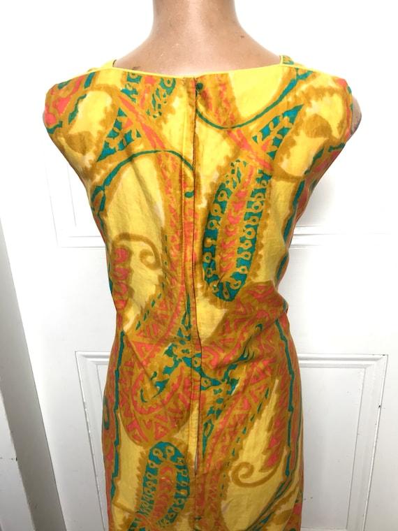 60's Shaheen Paisley Print Mod Hippie Cotton Shif… - image 7