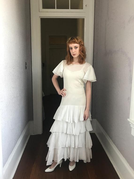 Vintage 20's/30's White Voile Ruffled Dress Amazin