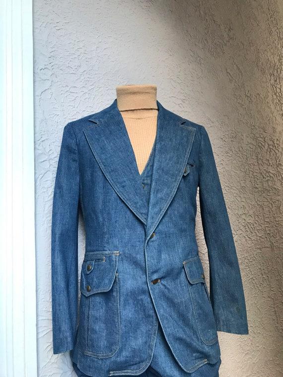 70's Vintage Men's Lee Jeans Denim 3 Pc Suit Vest