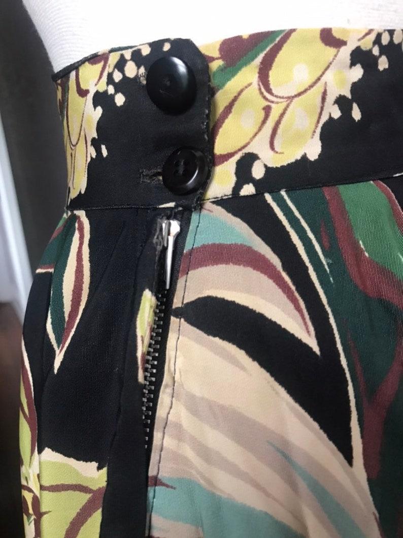 1940/'s Vintage Rayon Floral High Waist Circle Skirt XSm
