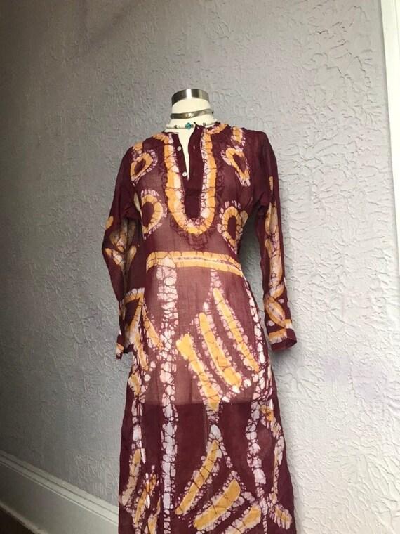 60's Vintage Hippie Sheer Cotton Hand Dyed Batik