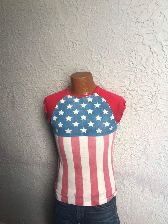 70's Vintage Stars and Stripes Flag T Shirt Distre