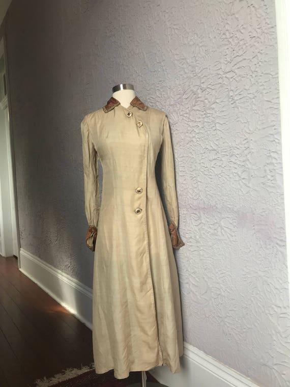 Vintage Edwardian 1900 Silk Duster Coat Dress sm.
