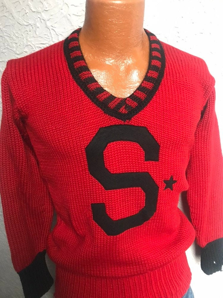 Men's 1920s Style Ties, Neck Ties & Bowties 20s30s Vintage Mens Varsity Letter Sweater Sports Antique SmMed $26.00 AT vintagedancer.com