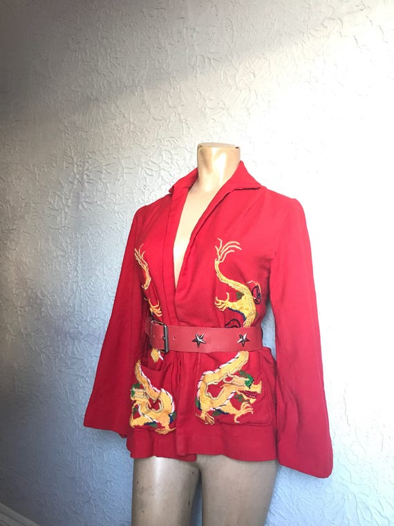30's Vintage Embroidered Dragons Wool Jacket small