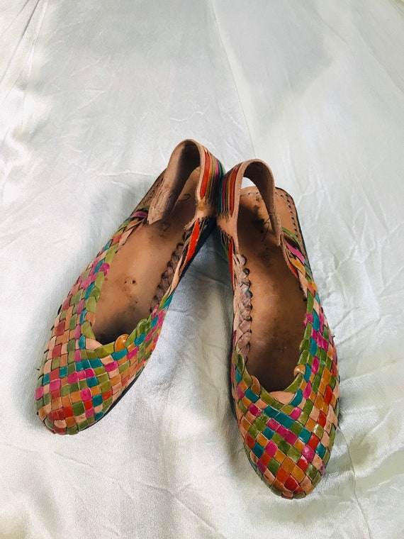 Vintage Mexican Leather Huarache Sandals Multi-col