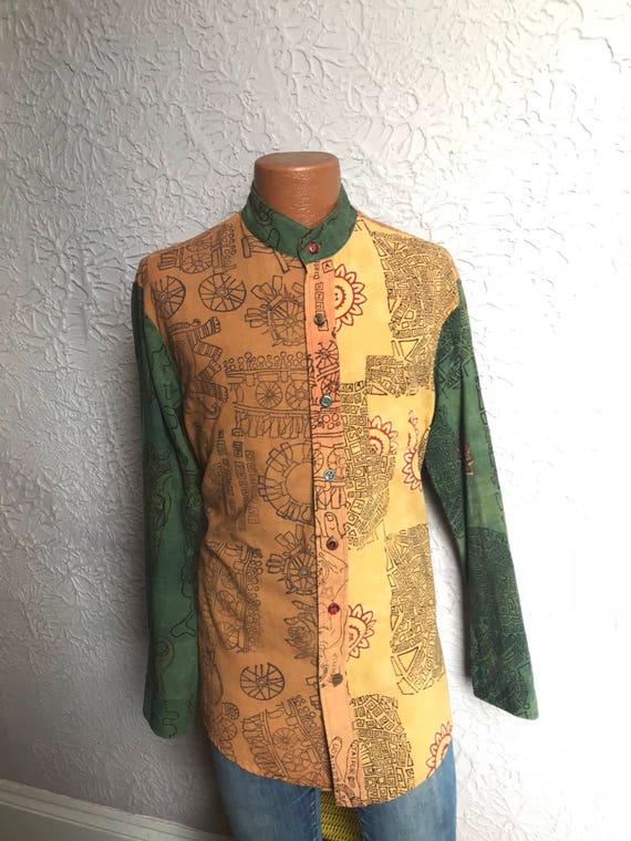 90's Vintage Men's OOAK Print Nehru Shirt large