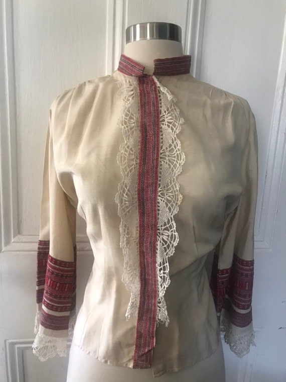 Vintage 30's/40's Hand Made Lace Silk Peasant  Bl… - image 3