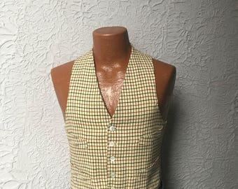 40's Vintage Men's Tatersall Wool Checked Vest Waistcoat