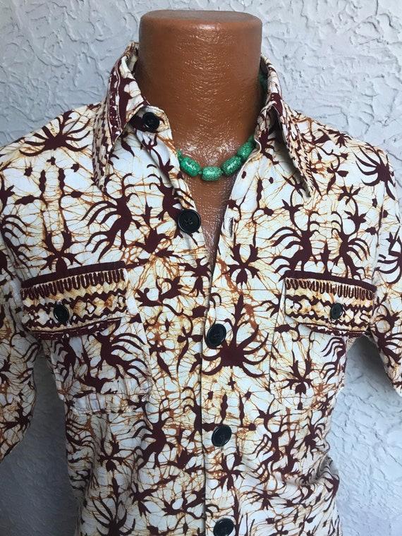Vintage Men's Java Batik Cabana Shirt medium