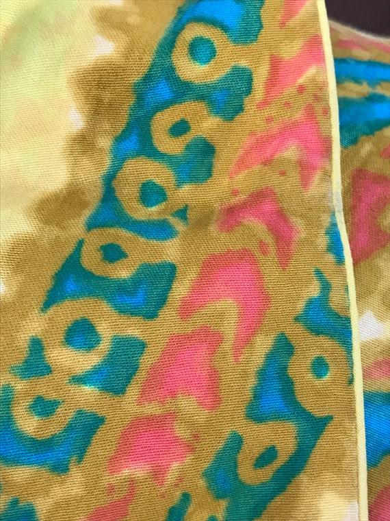 60's Shaheen Paisley Print Mod Hippie Cotton Shif… - image 2