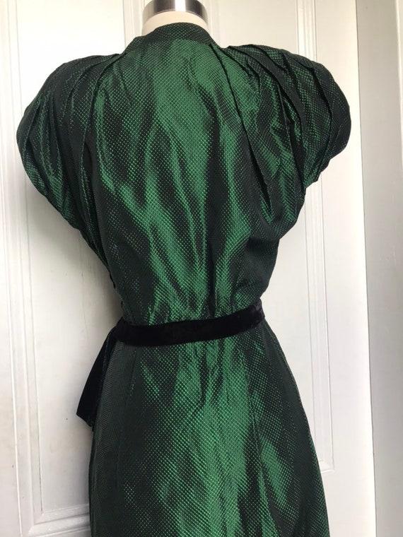 30's/40's Vintage Green Black Silk Damask Dress s… - image 7