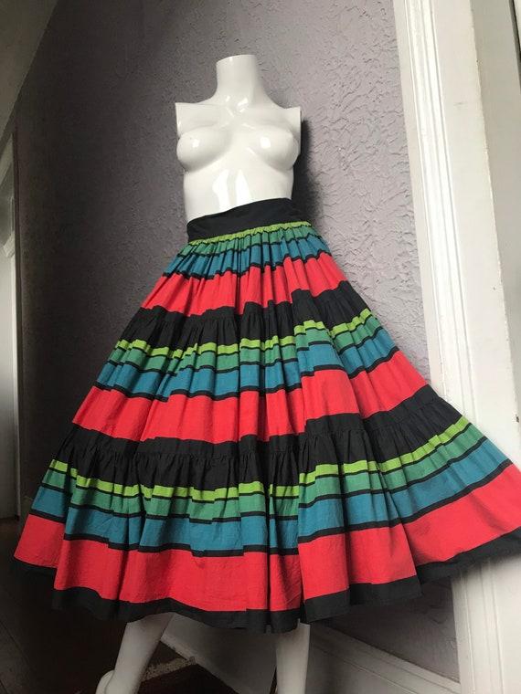 50's Vintage Colorful Striped Fiesta Cotton Circle