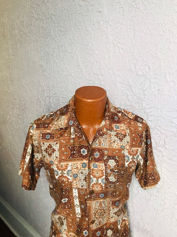 1960's Vintage Men's Mod Paisley Hawaiian Shirt Mo