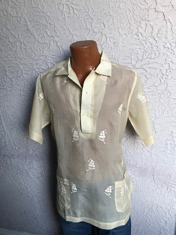 Vintage Men's Sheer Embroidered Barong Cabana Trop