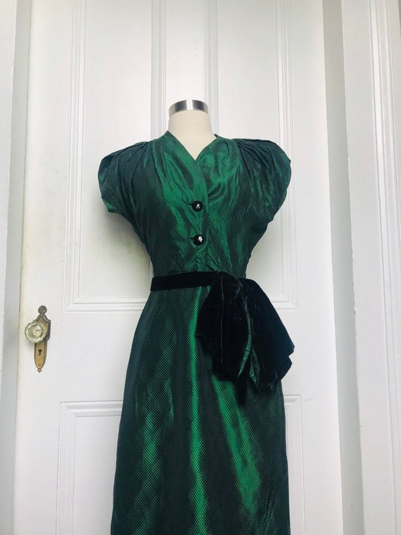 30's/40's Vintage Green Black Silk Damask Dress sm