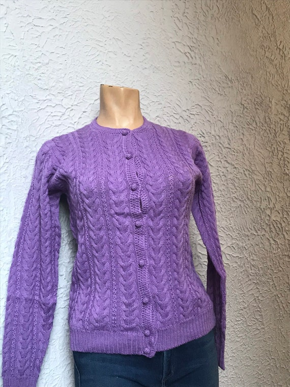 60's/70's Vintage Cable Knit Lavender Wool Cardiga