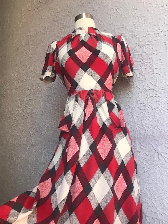 1930's Vintage Adorable Plaid Rayon Dress small /m