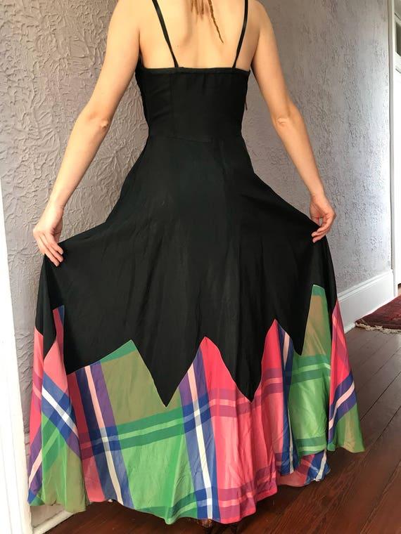 30's Vintage Rayon Silk Plaid Gown Dress - image 9