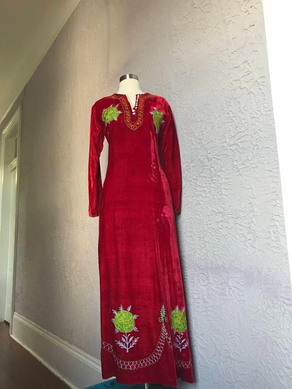 60's Vintage Hippie Red Velvet Hippie Maxi Dress C