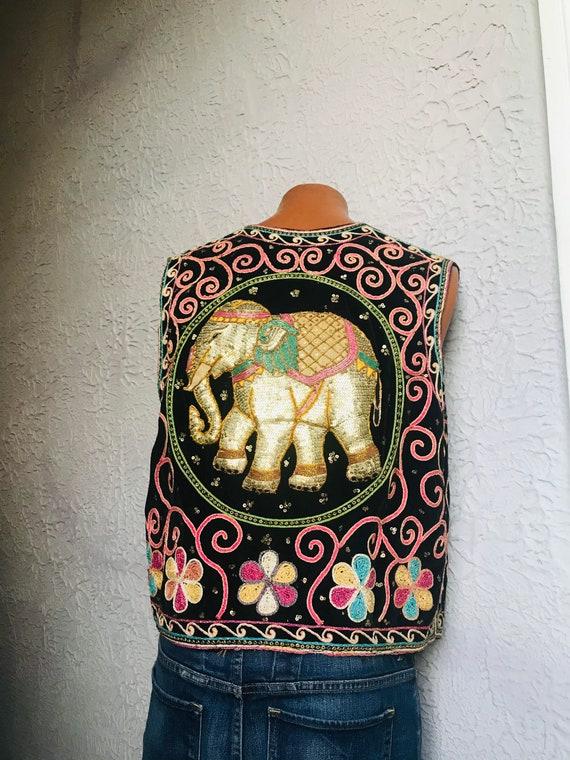 Vintage Men's Hippie Gypsy Embroidered Velvet Vest