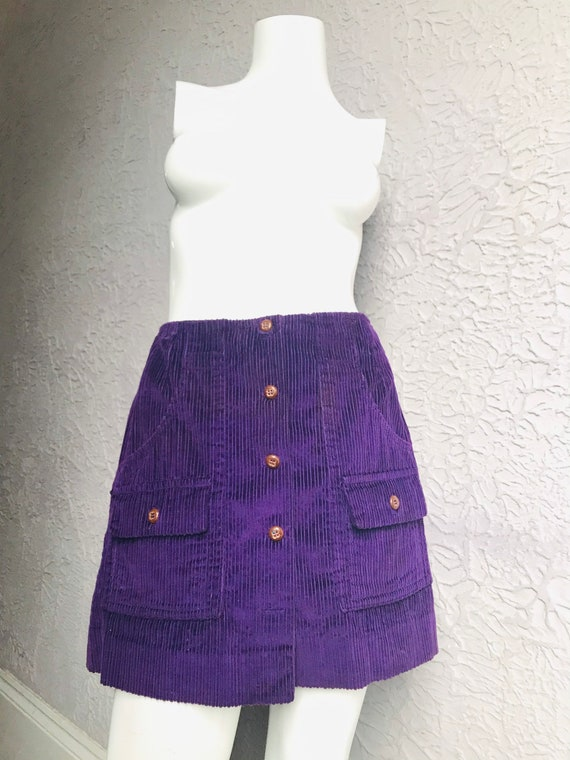 60's/70's Vintage Purple Wide Wale Corduroy Mini S