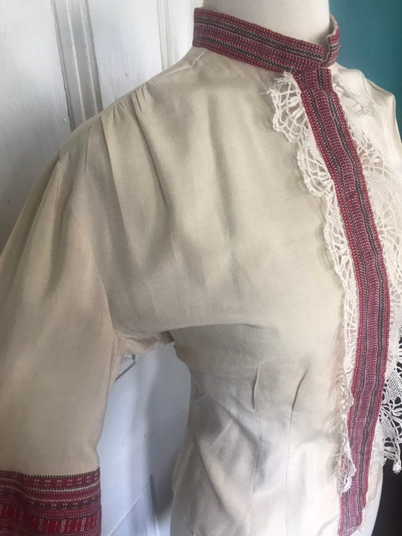 Vintage 30's/40's Hand Made Lace Silk Peasant  Bl… - image 8
