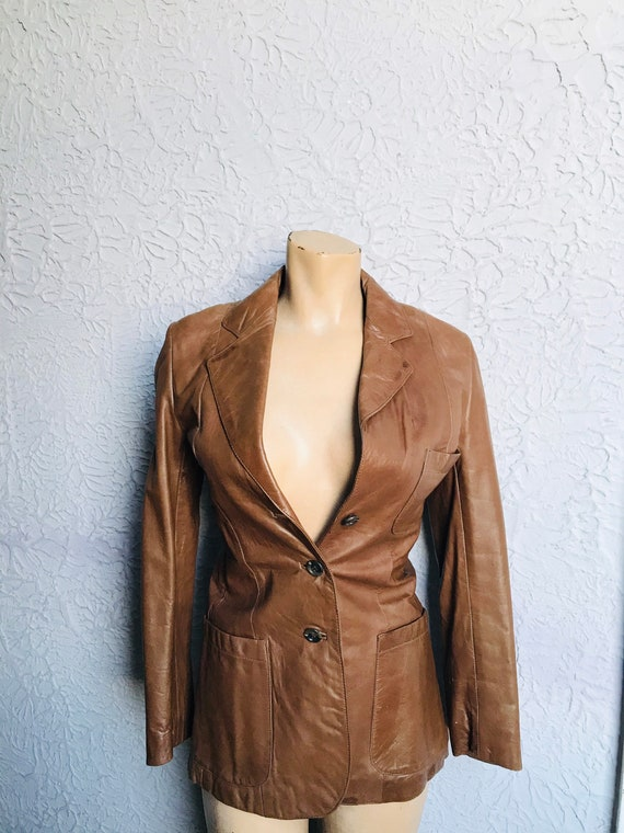 70's Vintage Fitted Leather Blazer Cocoa Brown Sm