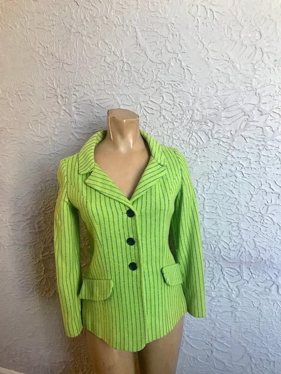 60's Vintage Young Edwardian Mod Lime Green Stripe
