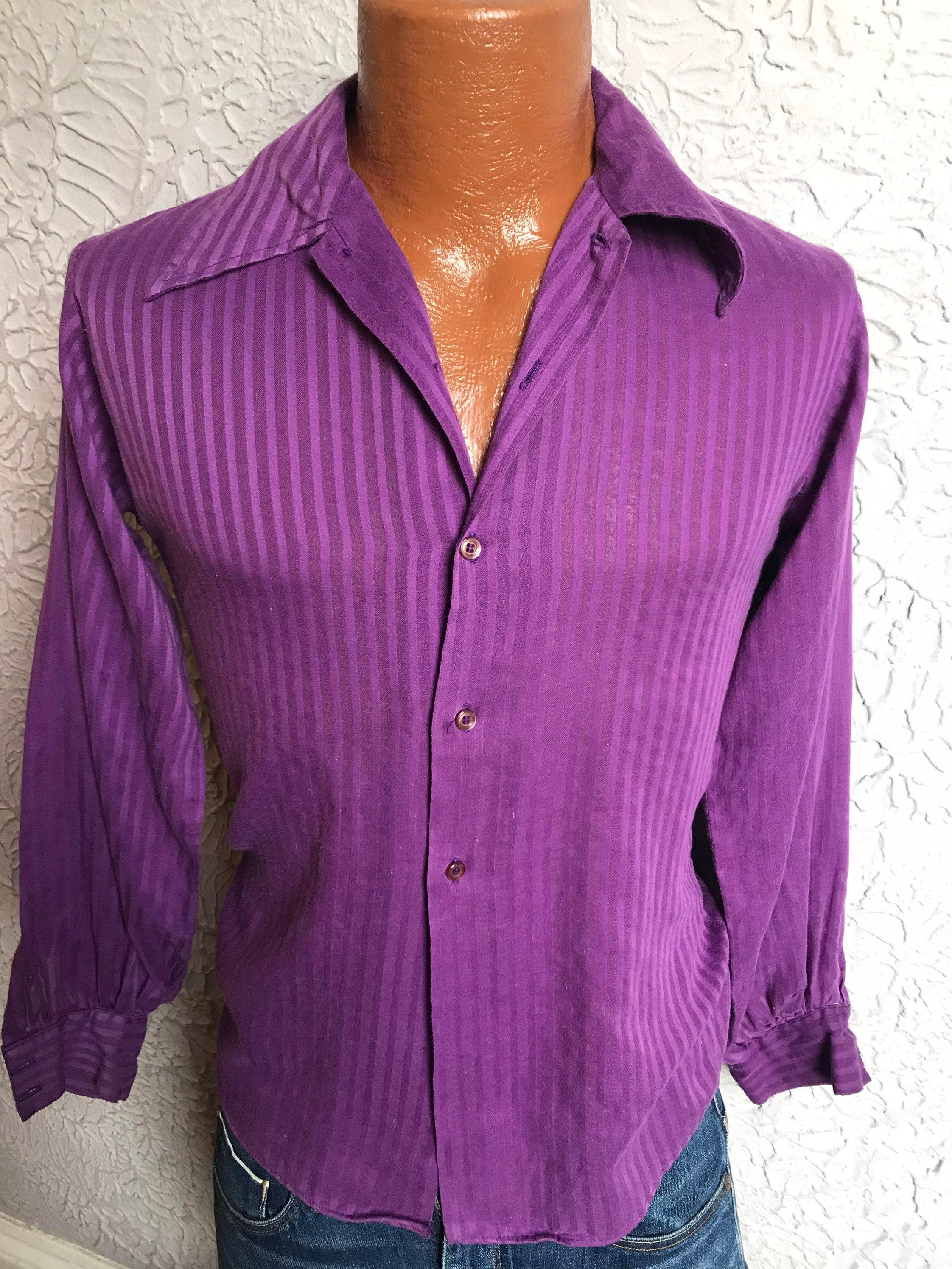 1960s – 70s Men's Ties | Skinny Ties, Slim Ties 60s70s Vintage Mens Mod Regency Purple Shirt Xs $79.00 AT vintagedancer.com
