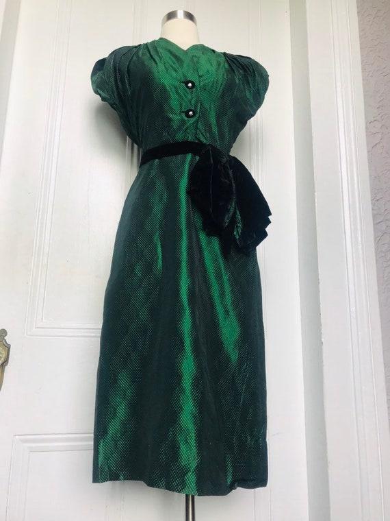 30's/40's Vintage Green Black Silk Damask Dress s… - image 10
