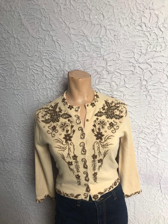 50's Vintage Beaded Cardigan Sweater Lambswool cas
