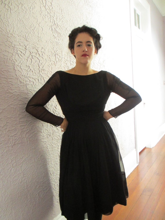 1950's Vintage Black Silk Chiffon Party Dress sm.