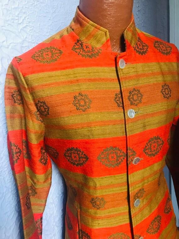 60's Vintage Men's Nehru Hippie Mod Silk Designer