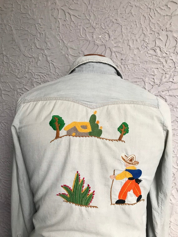 70's Vintage Men's Embroidered Hippie Western Shir