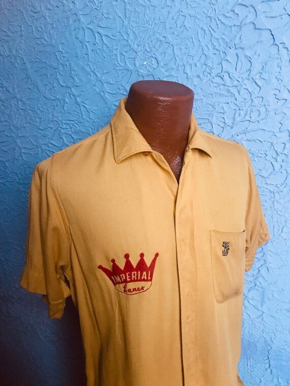 50s Vintage Men's Rayon Bowling Shirt embroidered