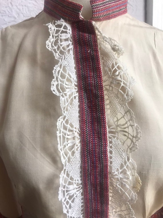 Vintage 30's/40's Hand Made Lace Silk Peasant  Bl… - image 9