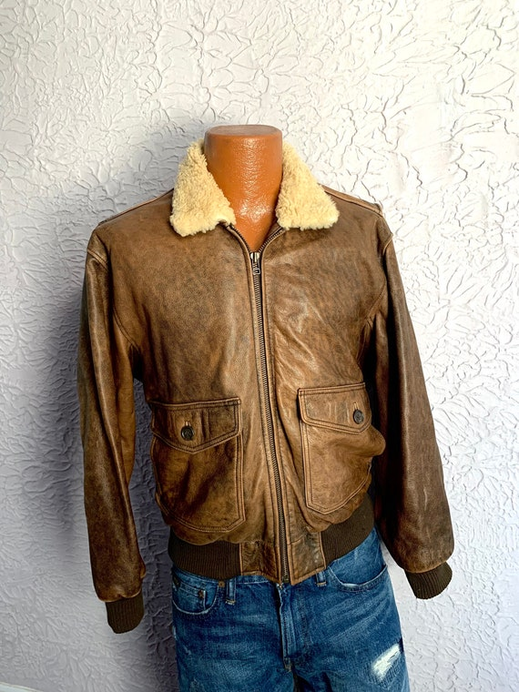 80's Vintage Brown Leather Sheepskin Collar Bomber